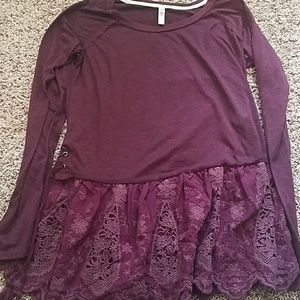 NWOT Purple long sleeve lace shirt